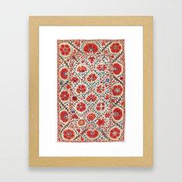 Large Medallion Suzani Bokhara Uzbekistan Floral Embroidery Print Framed Art Print