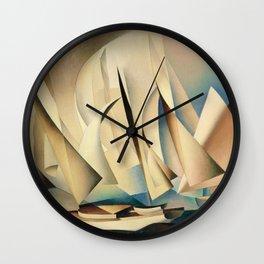 Pertaining to Sailing Yachts and Yachting by Charles Sheeler Wall Clock