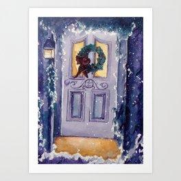 Christmas Door Art Print