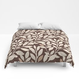 Leaves and Branches in Cream and Brown Comforters