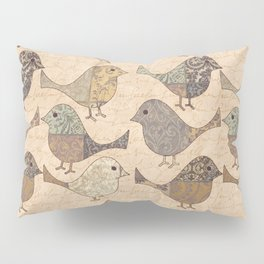 Nostalgic Autumn Patchwork Bird Pattern in warm retro colors #autumndecoration Pillow Sham