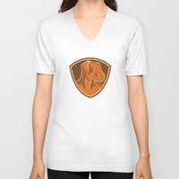 border collie V-neck T-shirts featuring Sheepdog Border Collie Shield Retro by retrovectors