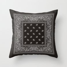 Paisley - Bandana - Black -  Southwestern Throw Pillow