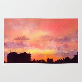 Minsk sunset skyline in watercolours Rug