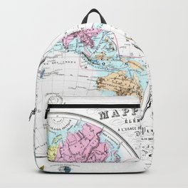 World map wall art 1876 dorm decor mappemonde from french school Backpack