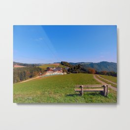Bench with beautiful panorama | landscape photography Metal Print