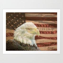 Rustic Bald Eagle on American Flag A213 Art Print