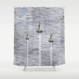 F22 Stealth Fighters Climbing in Clouds Shower Curtain