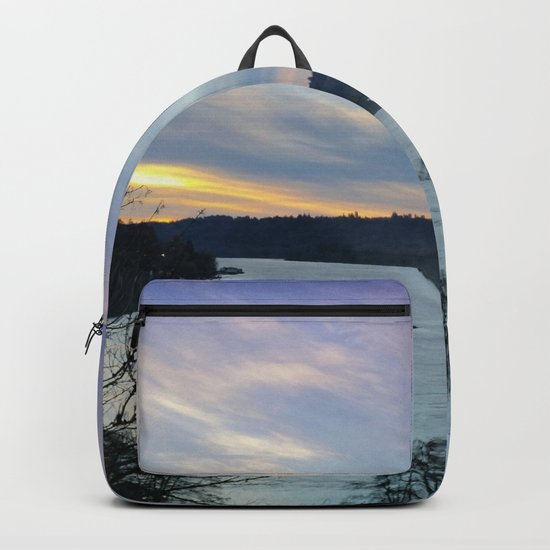 A CHILLY WINTER WILLAMETTE FALLS SUNSET Backpack