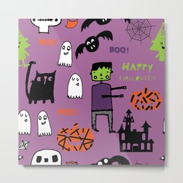 Cute Frankenstein and friends purple #halloween Metal Print