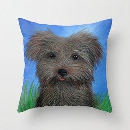 Scruffy Yorkie Dog Portrait Throw Pillow