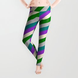 Colorful Teal, Dark Orchid, Beige, Green & Grey Colored Lines Pattern Leggings