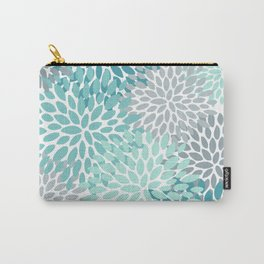 Floral Pattern, Aqua, Teal, Turquoise and Gray Carry-All Pouch