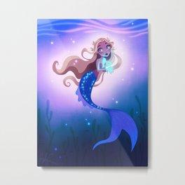 Mermaid with Glowing Fish Metal Print