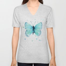 Blue Abstract Butterfly Unisex V-Neck