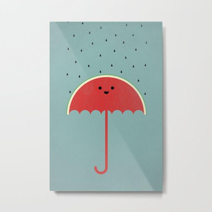 Watermelon Umbrella Metal Print