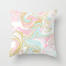 Pink Blue Gold Ink Marble Throw Pillow