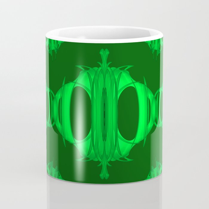 Dividers 03 Acid Green over Dark Green Coffee Mug