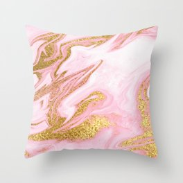 Golden Pink Dreamer Throw Pillow