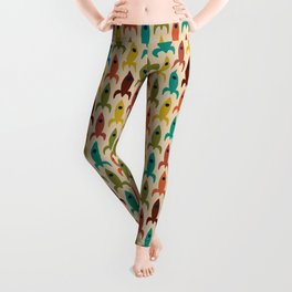 Little Rockets - Atomic Age Mid-Century Modern Pattern in Mid Mod Multicolour  Leggings