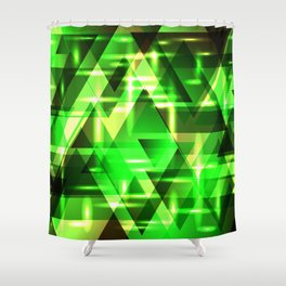 Spring gentle green horizontal strict stripes of sparkling grass triangles. Shower Curtain