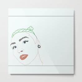 green haired babe Metal Print