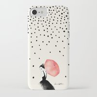 rain iPhone & iPod Cases featuring Polka Rain by Karen Hofstetter