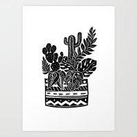 Botanical Pot Block Print Art Print