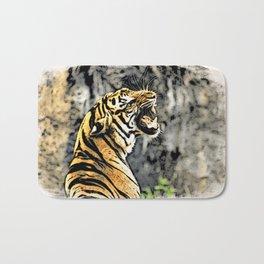 Tiger roar Woodblock Style Bath Mat