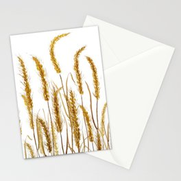 golden wheat field watercolor Stationery Cards