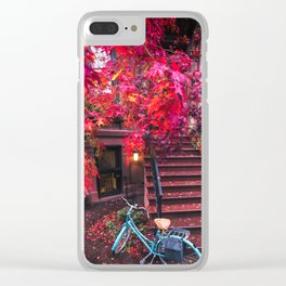 New York City Brooklyn Bicycle and Autumn Foliage Clear iPhone Case