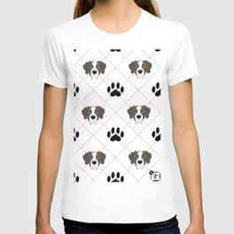 St Bernard Paw Print Pattern T-shirt