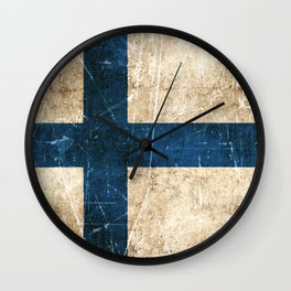 Vintage Aged and Scratched Finnish Flag Wall Clock