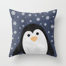 Christmas Penguin Marble Throw Pillow