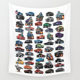 American Hot Rods, Muscle Cars, Street Rods, Pickup Trucks and Motorcycle Cartoons Wall Tapestry