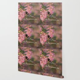 Nature bee on pink flowers with a beautiful quote Wallpaper