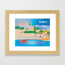Beirut, Lebanon - Skyline Illustration by Loose Petals Framed Art Print