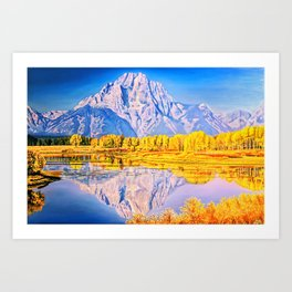mountain reflection Art Print