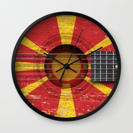 Old Vintage Acoustic Guitar with Macedonian Flag Wall Clock