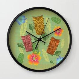 Bamboo Tiki Room Pattern Wall Clock
