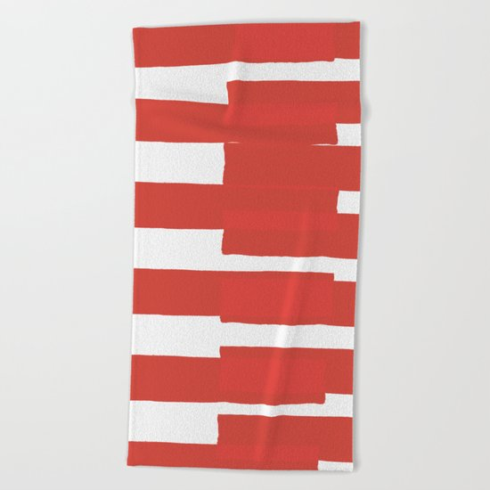 Big Stripes In Red Beach Towel