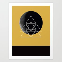 Geometric Moon (Spicy Mustard) Art Print