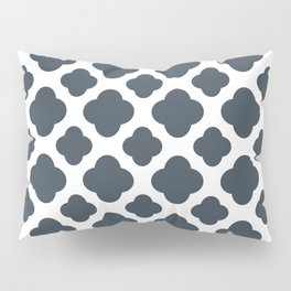 Charcoal and White Quatrefoil Pattern Pillow Sham