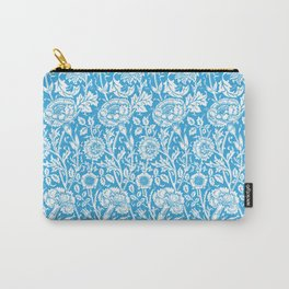 "William Morris Floral Pattern | ""Pink and Rose"" in Turquoise Blue and White Carry-All Pouch"