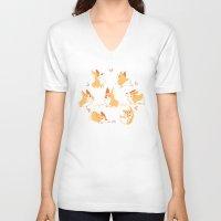 corgi V-neck T-shirts featuring Corgi by Inkinesss