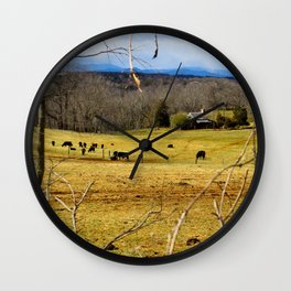 Cattle ranch overlooking the Blue Ridge Mountains Wall Clock