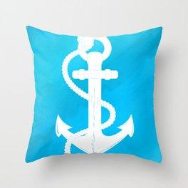 White Anchor Throw Pillow