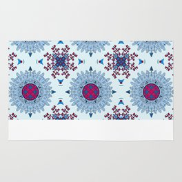 blue and red pattern Rug