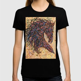 Abstract Horse Digital Ink Pollock Style T-shirt
