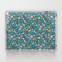 Dinosaurs + Unicorns in Blue + Coral Laptop & iPad Skin